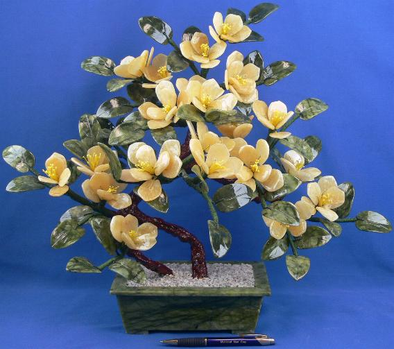 Yellow Rock Jade Flower Bonsai In Pot