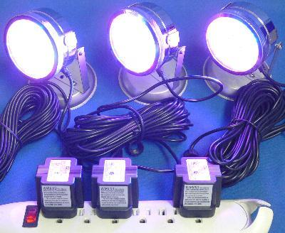 synchronized color changing LED underwater light