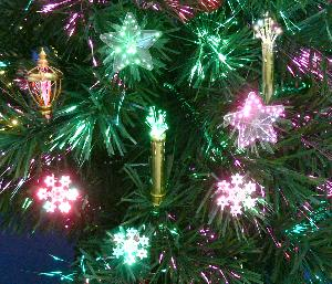 close look of tree fiber optic ornaments